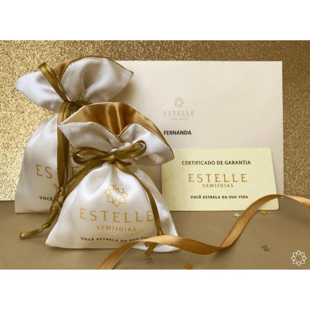 Anel Solitário com Zirconias Ellen banhado em ouro 18k