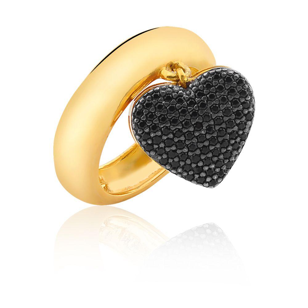 Anel de Coração Graziela com Zirconias Negras banhado em ouro 18k