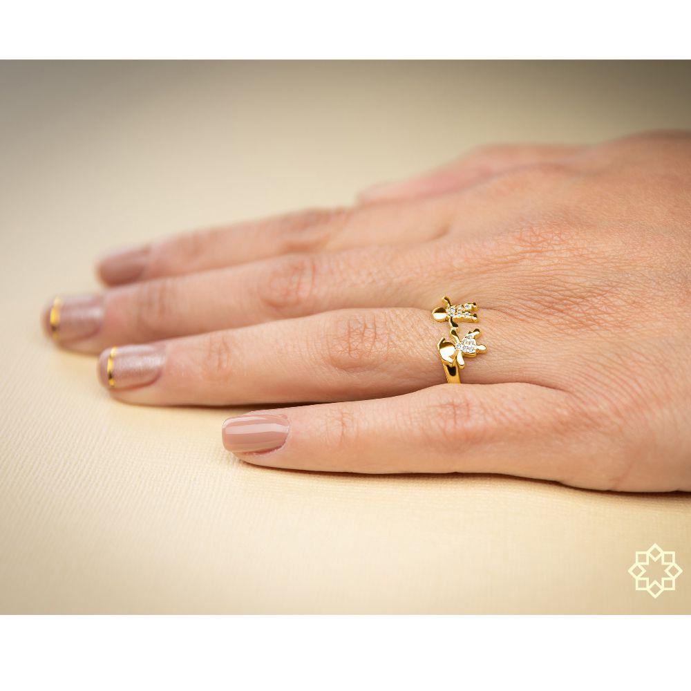 Anel De Filhos Menina E Menino Com Zirconias banhado em ouro 18k