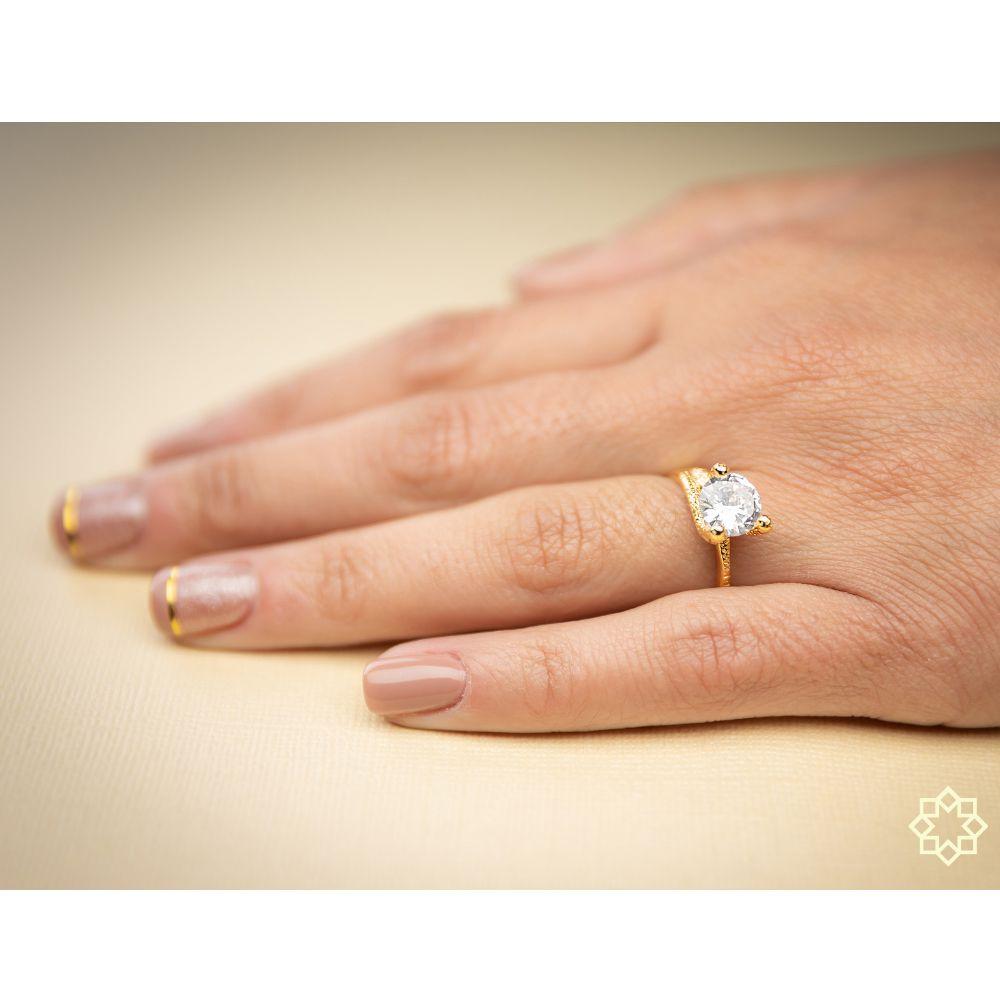 Anel de noivado Solitário Com Zirconia Mariana banhado em ouro 18k