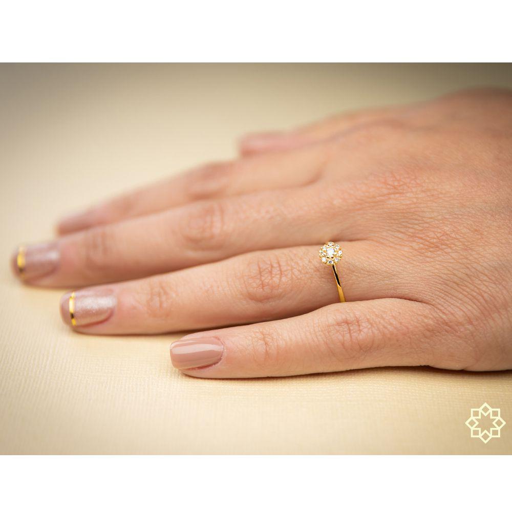 Anel de Noivado Solitário com Zirconias Celine banhado em ouro 18k