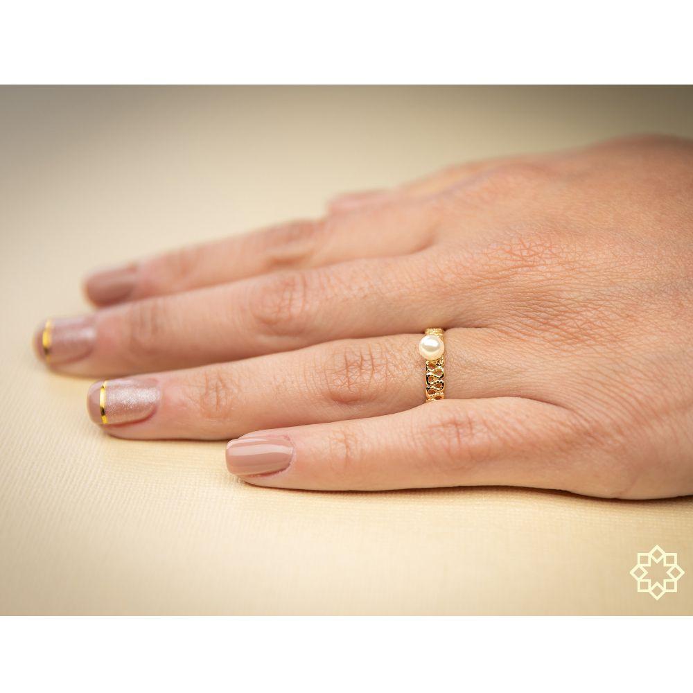 Anel De Pérola Anelise banhado em ouro 18k