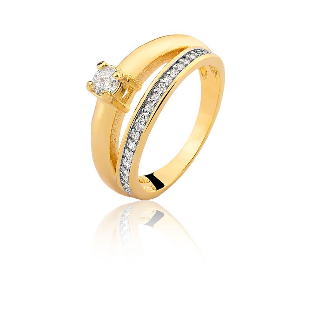 Anel Duplo Luxo Com Zirconias Eliane banhado em ouro 18k