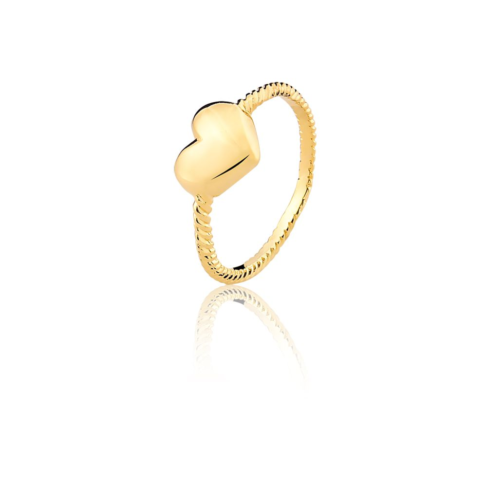 Anel de Coração Patrícia banhado em ouro 18k