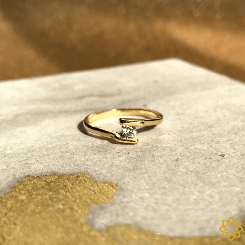 Anel Falange Com Zirconia Mari banhado em ouro 18k
