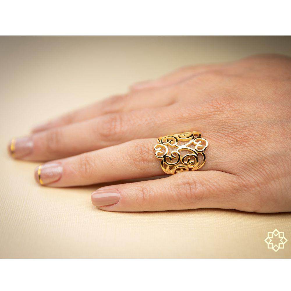 Anel Feminino Filigrama Victoria banhado em ouro 18k
