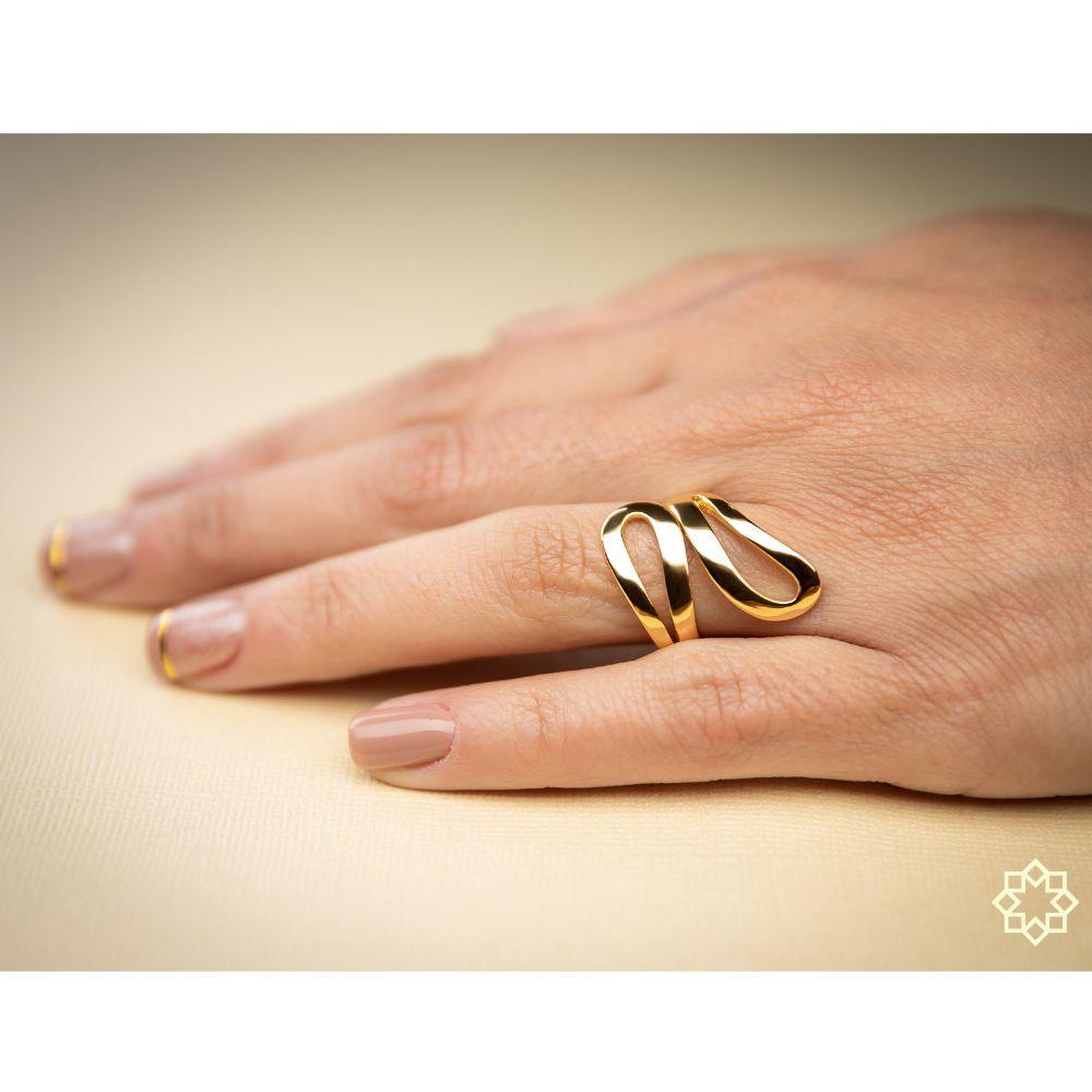 Anel Feminino Lúcia Curvas Regulável banhado em ouro 18k