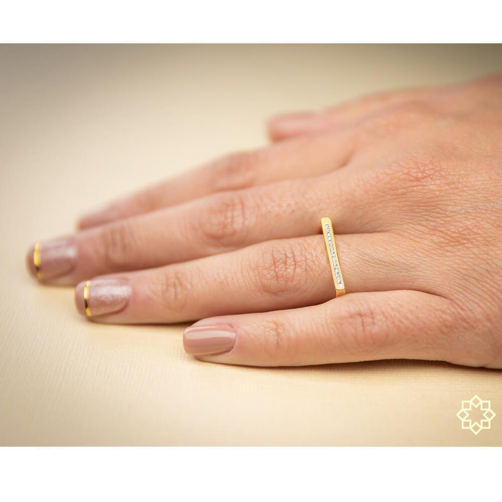 Anel Quadrado Com Zirconias Lisandra banhado em ouro 18k