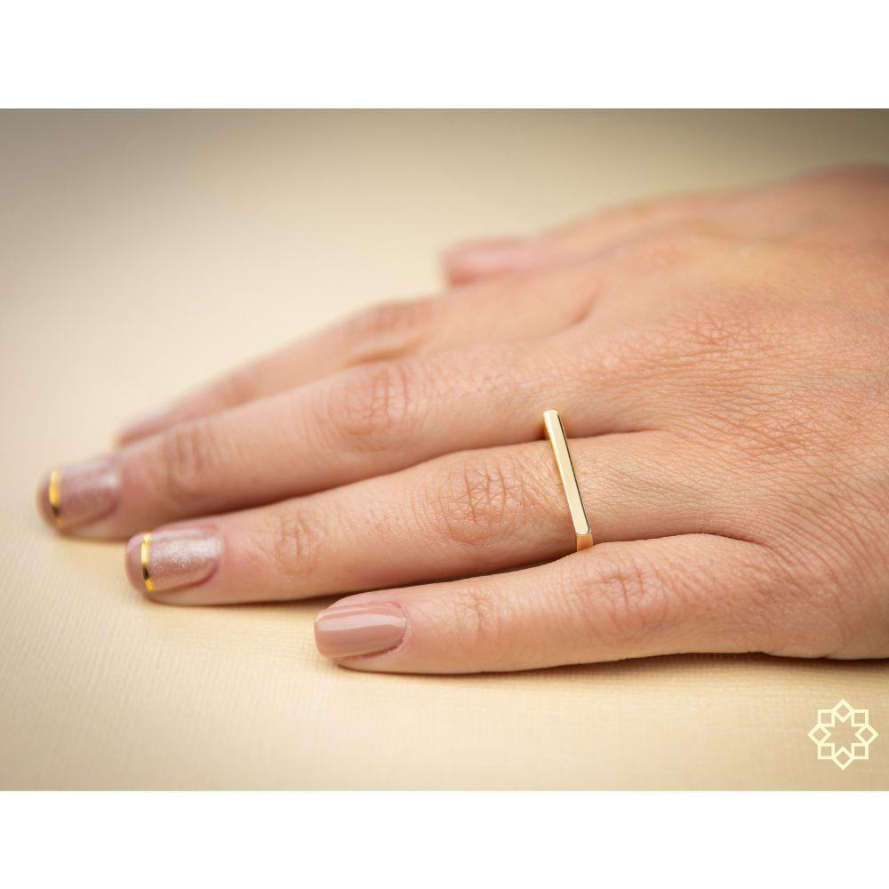 Anel Quadrado Zara banhado em ouro 18k