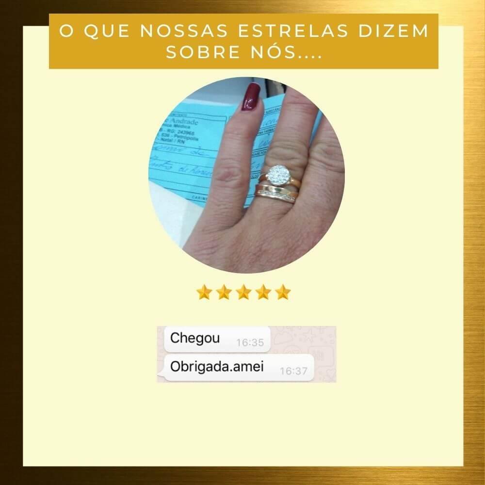 Anel Solitário com Zirconias Ellen com zirconias e banhado em ouro 18k