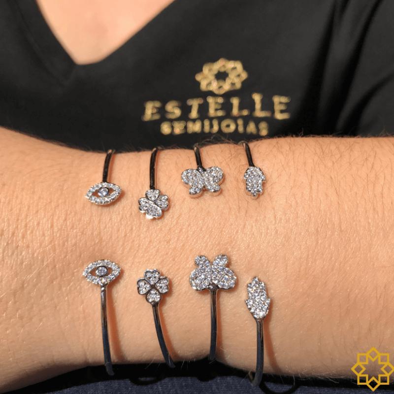 Bracelete Mão De Fátima Hamsá Com Zirconias