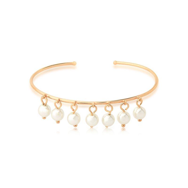 Bracelete Rosy Com Pingentes de Pérolas Folheado em ouro Champagne