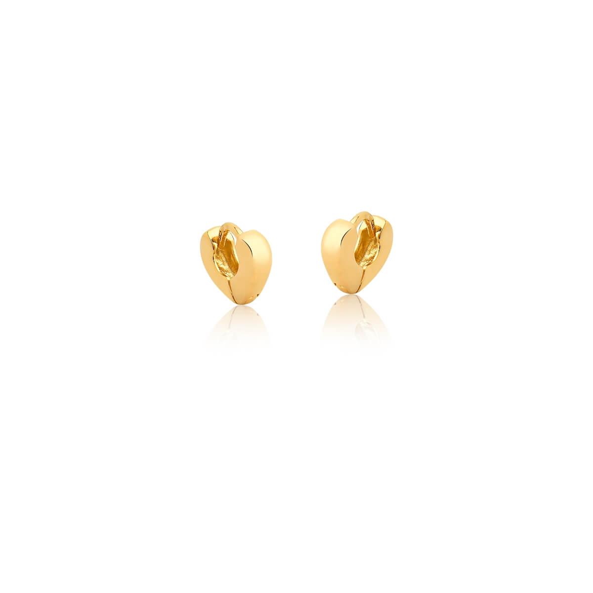 Brinco de Argola de coração Pequeno liso banhado em ouro 18k