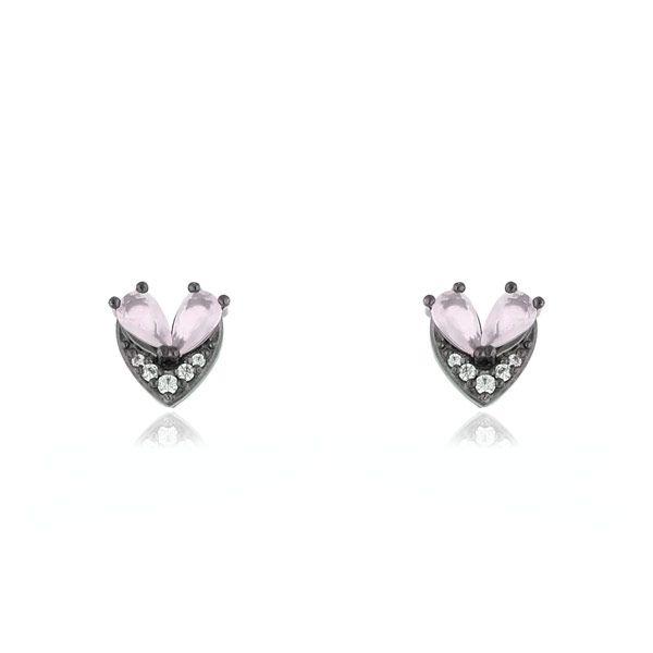 Brinco de zirconia Anette com Cristal Quartzo Rosa em ródio negro