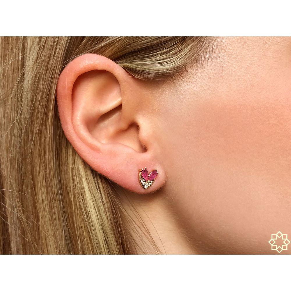 Brinco de zirconia com Cristal Rubi Rosa Anette banhado em ouro rosé