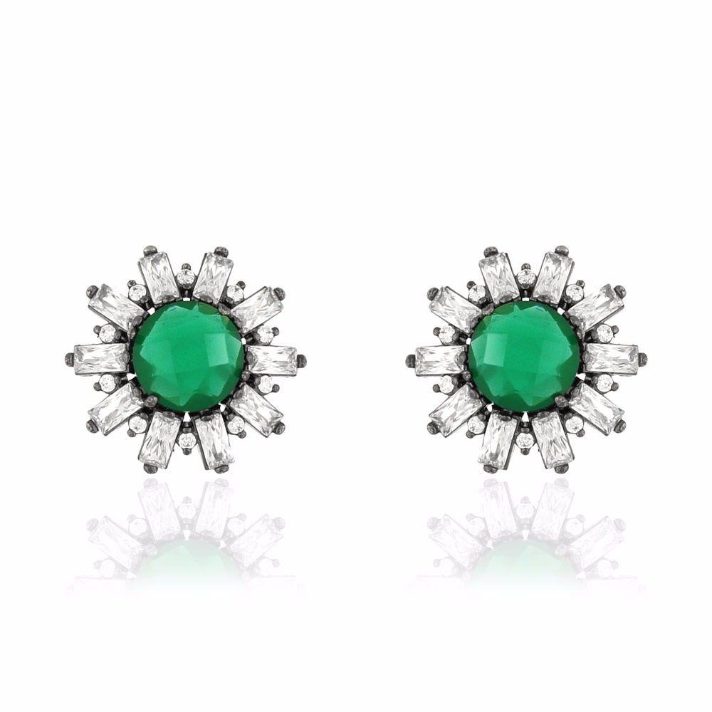 Brinco de Zirconias Adele de Cristal Agata Verde