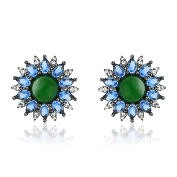 Brinco de zirconias Marcie com Cristal Quartzo Verde em ródio negro