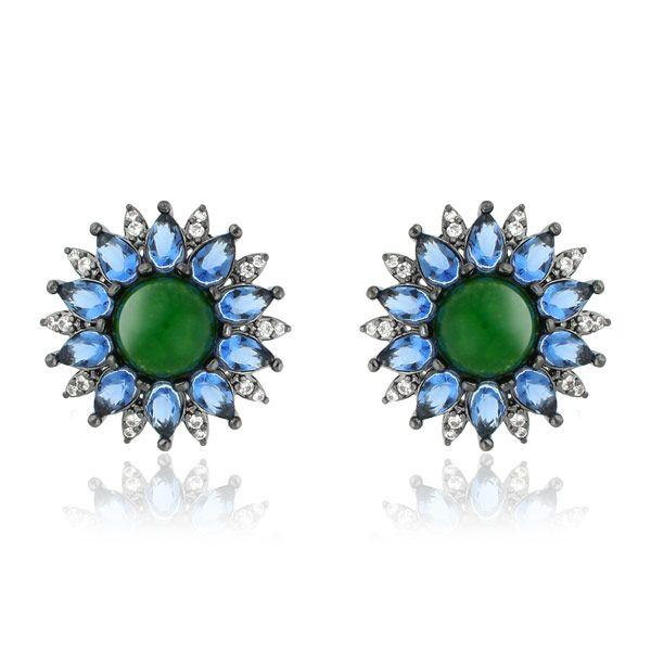 Brinco de zirconias Marcie com Cristal Verde