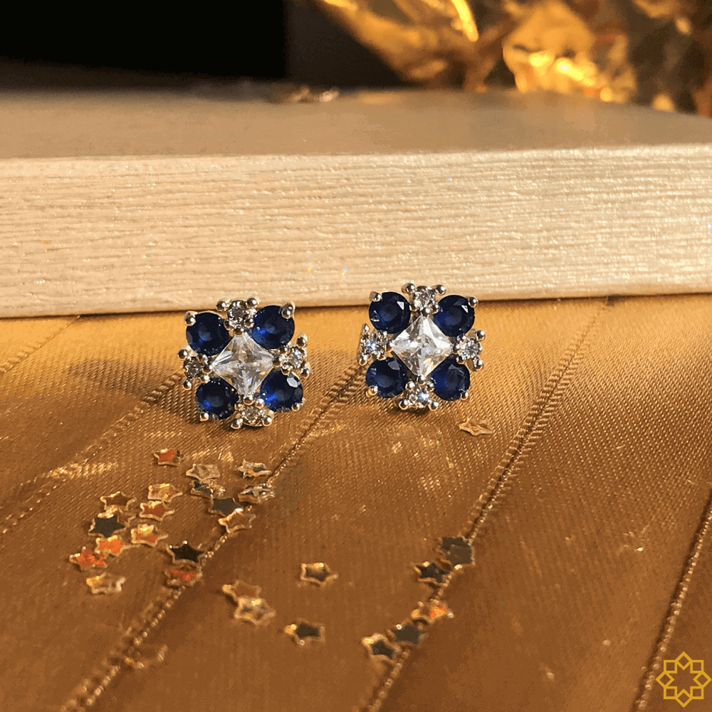 Brinco de zirconias Marina Azul Safira