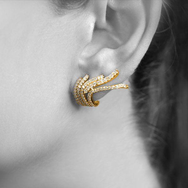 Brinco Ear Cuff Com Zirconias Glória banhado em ouro 18k