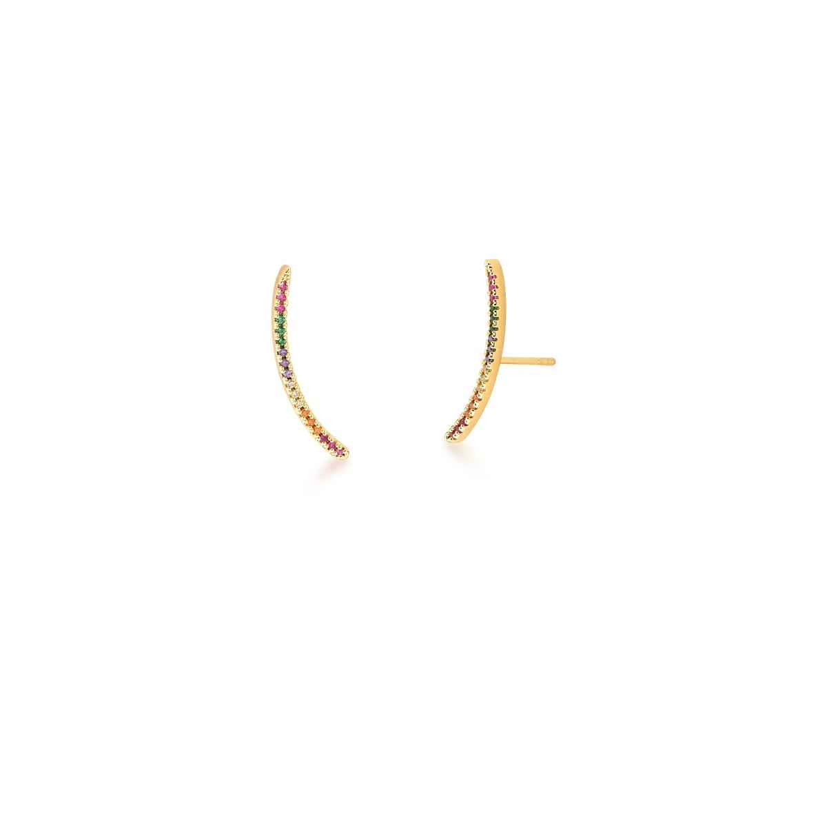 Brinco Ear Cuff Curvo com Zircônias Coloridas Banhado a Ouro 18k