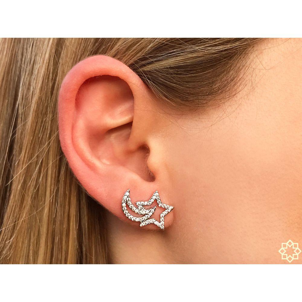 Brinco Ear Cuff Estrela & Lua Com Zirconias em ródio