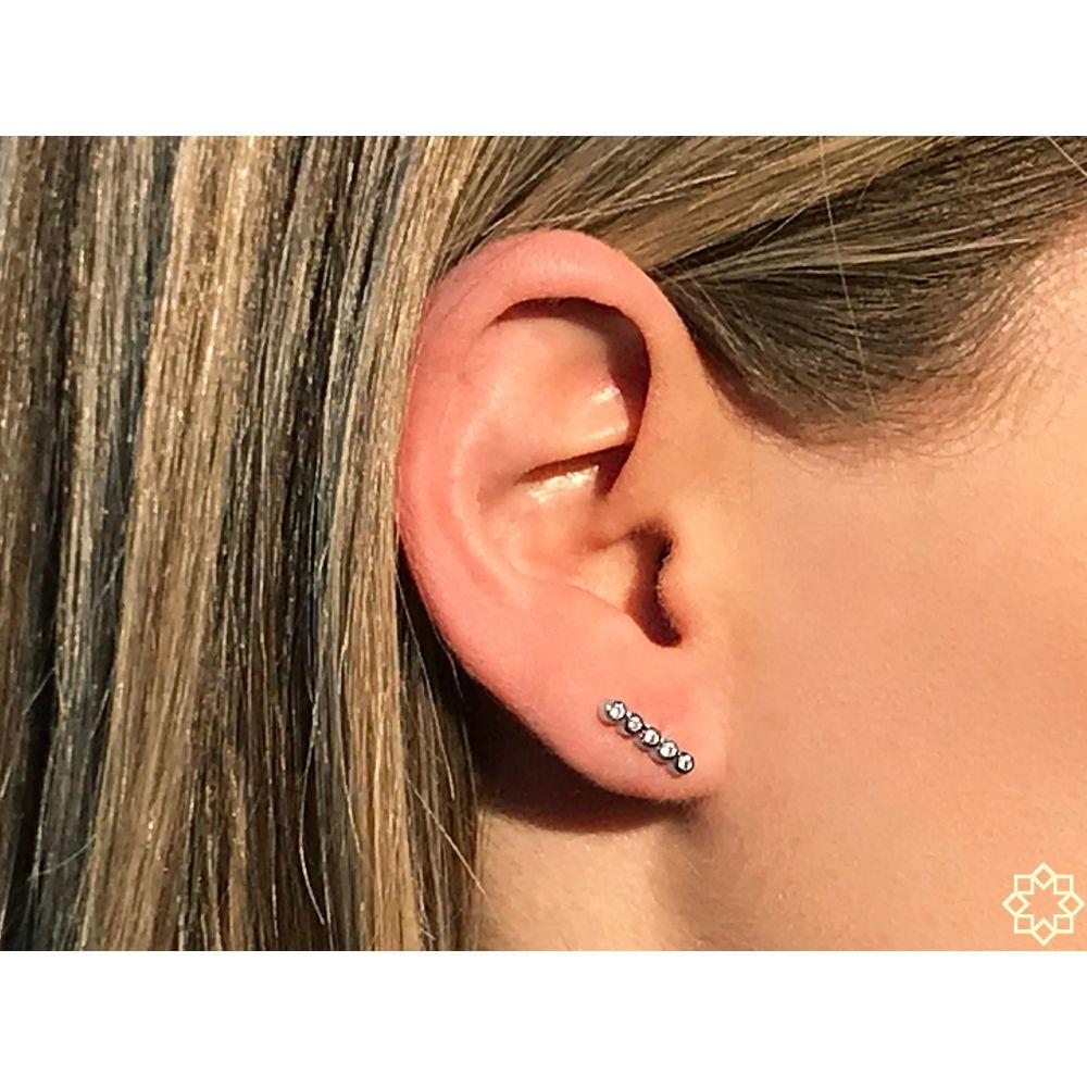 Brinco Ear Cuff Pequeno Com Zirconias Simone em ródio