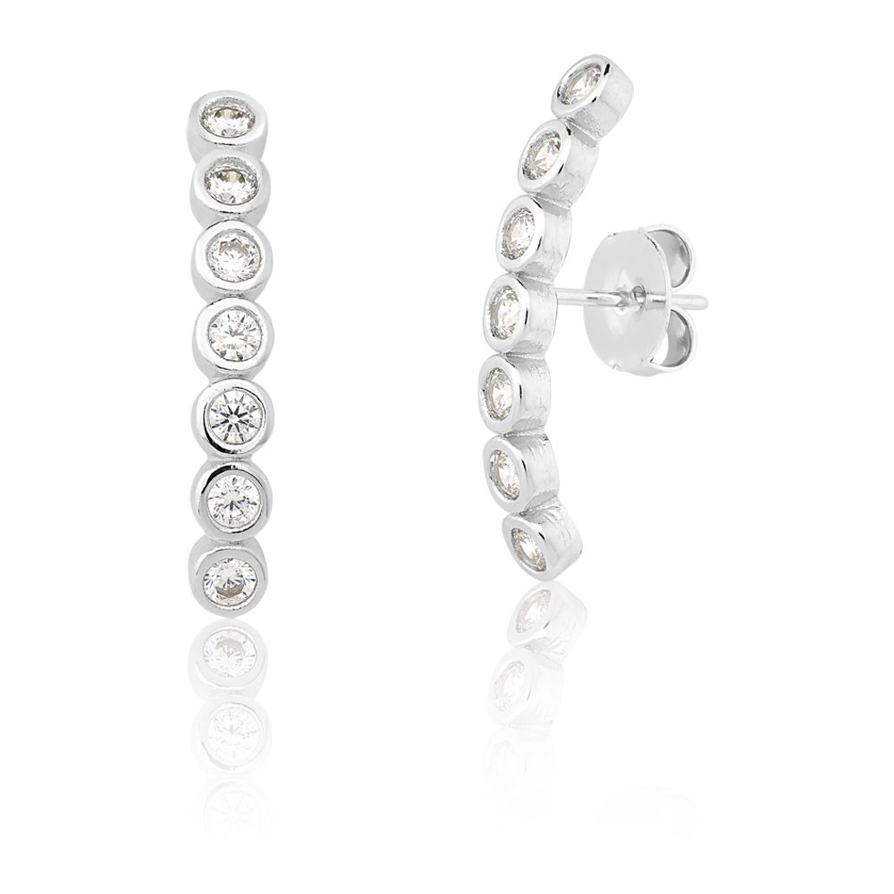 Brinco Ear Hook Com Zirconias Simone
