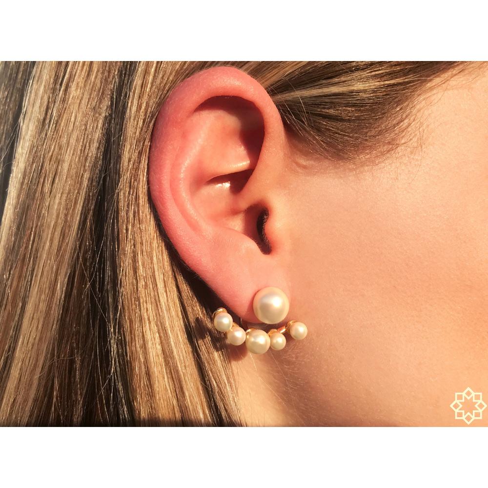 Brinco ear jacket Anelise de pérolasIs é 2 em 1 banhado em ouro 18k