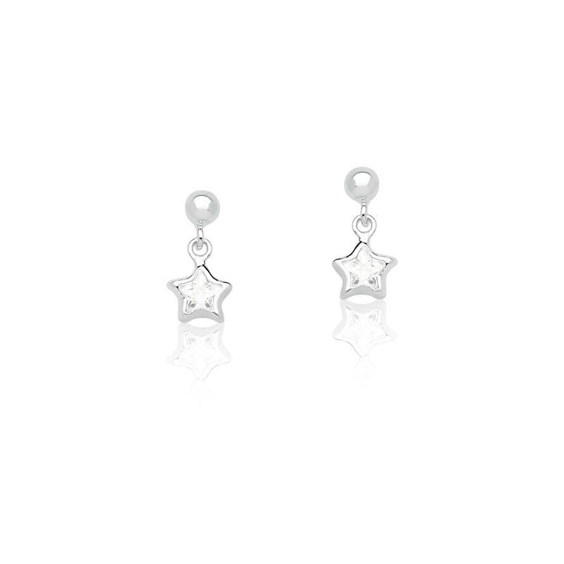 Brinco infantil de Estrela e cristal em Prata 925