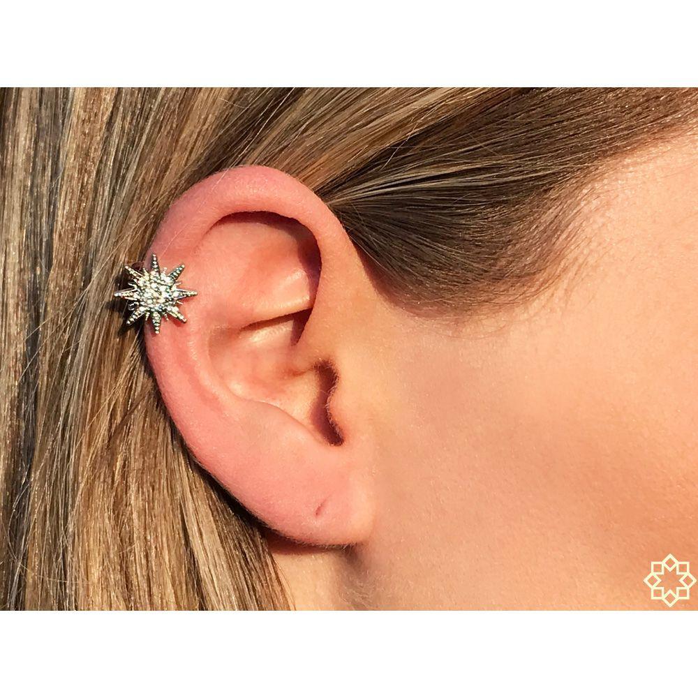 Piercing Fake Micaela Com Zirconias  em ródio branco