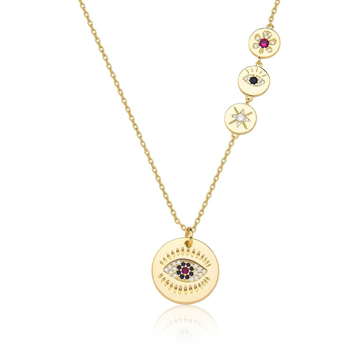 Colar com Pingente Olho Grego, estrela e flor banhado em ouro 18k