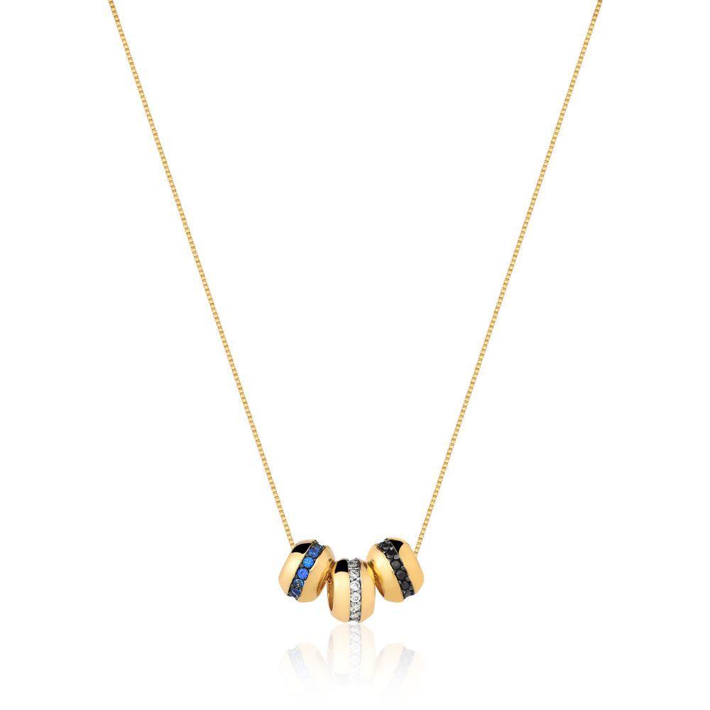 Colar Com 3 Pingentes em zirconias azul, branco e preto banhado em ouro 18k