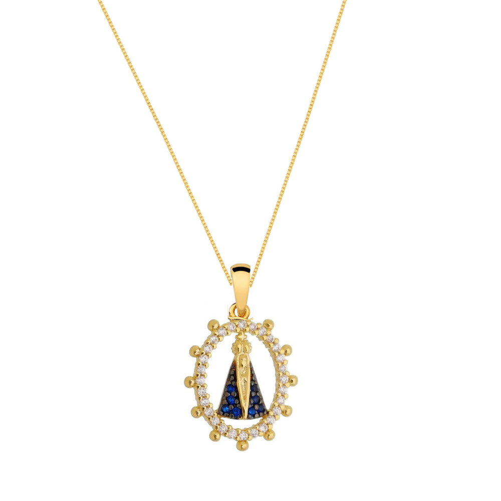 Colar com medalha de Nossa Senhora Aparecida banhada em ouro 18k com zirconias