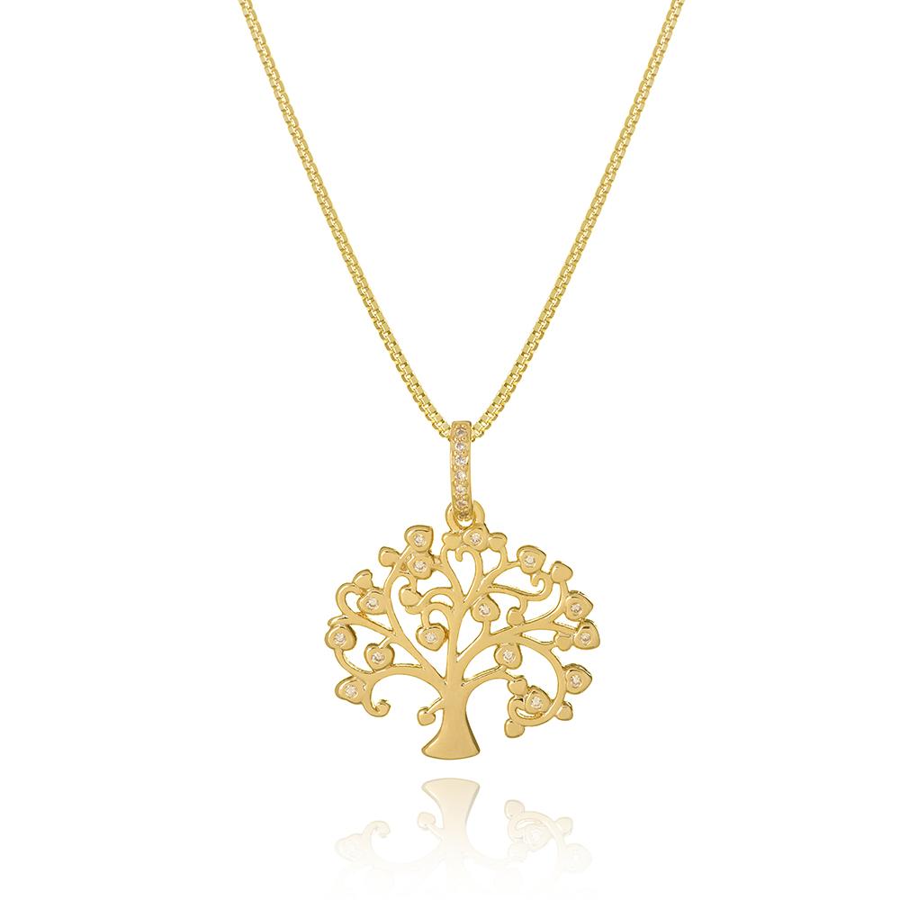 Colar com pingente Árvore da Vida com galhos em coração com zircônias banhado em ouro 18k