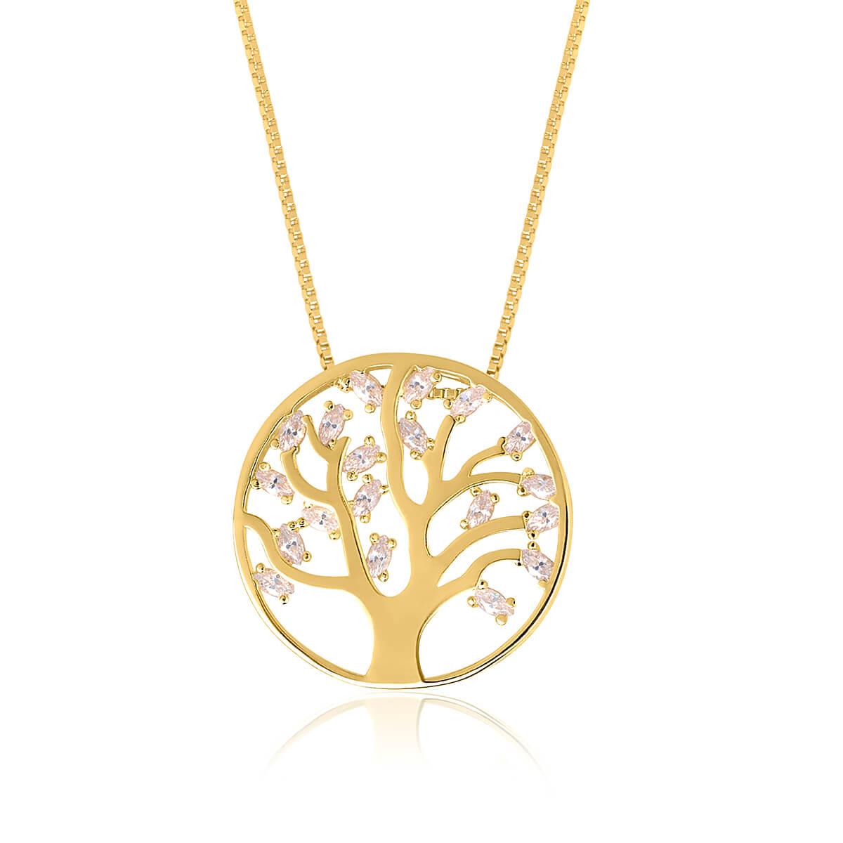 Colar com pingente Árvore da Vida Luxo em zircônias banhado em ouro 18k