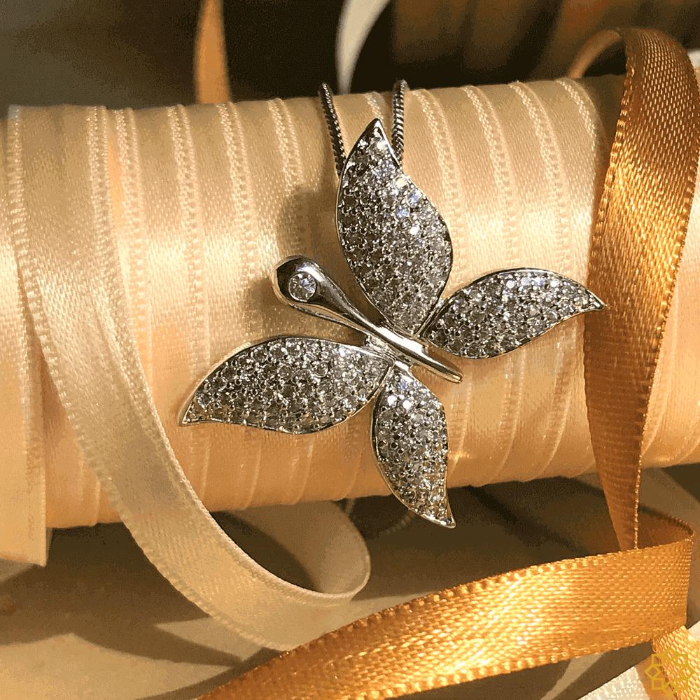 Colar Com Pingente Borboleta Em Zirconias em ródio