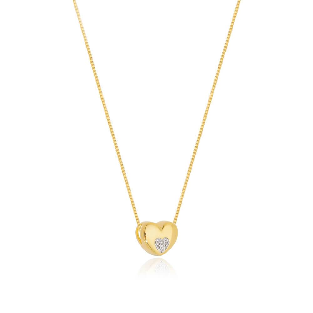Colar Com Pingente De Coração banhado em ouro 18k