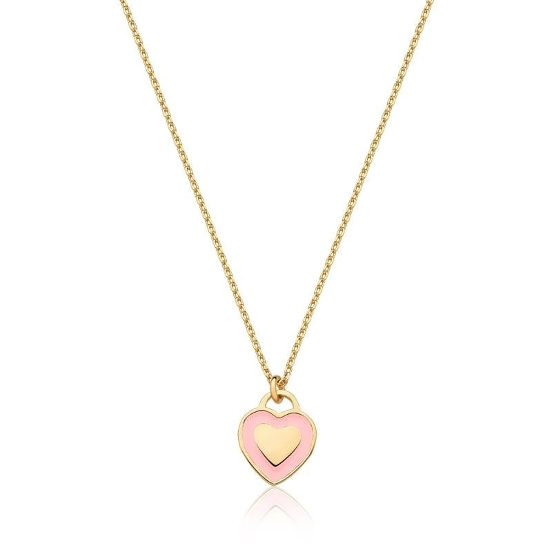 Colar com Pingente De Coração Esmaltado Rosa banhado em ouro 18k