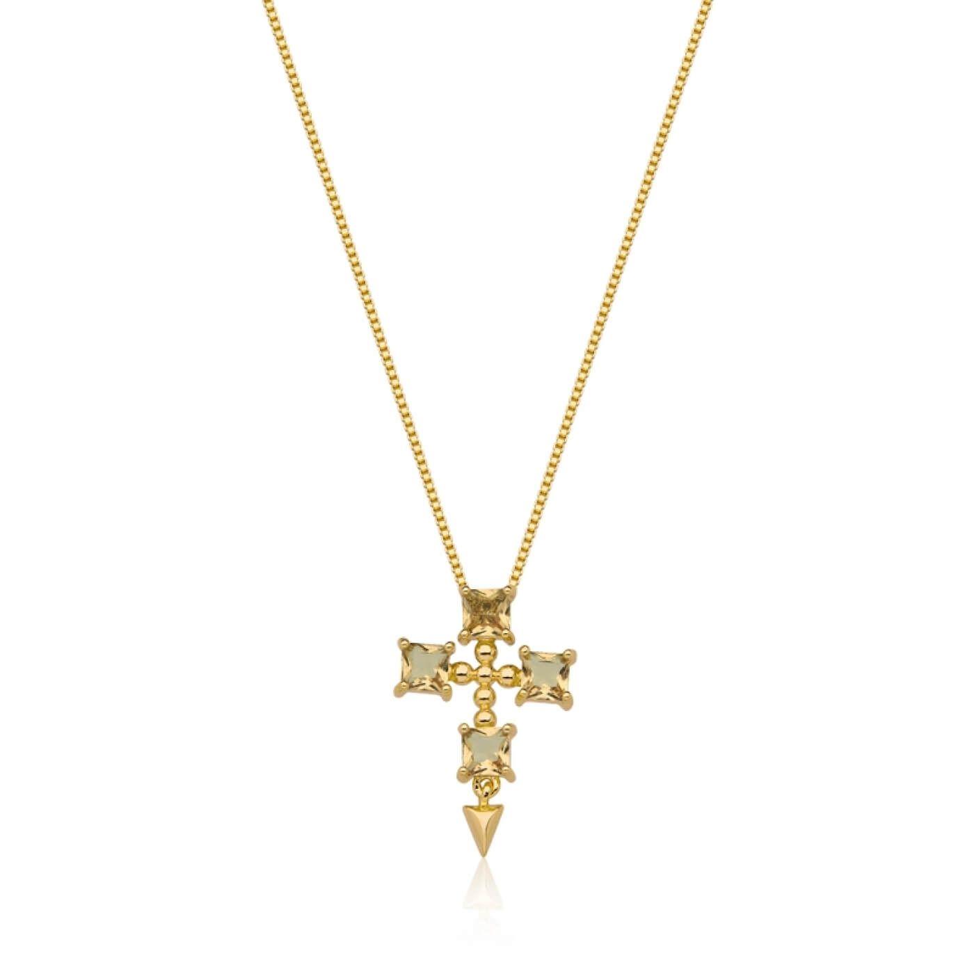 Colar Crucifixo em Cristal Cor Morganita banhado em ouro 18k