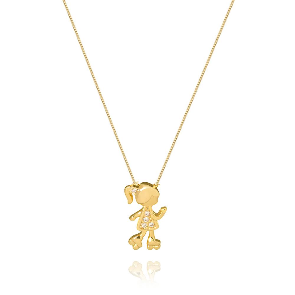Colar Com Pingente de Filha Menina no Patins Com Zirconias banhado em ouro 18k