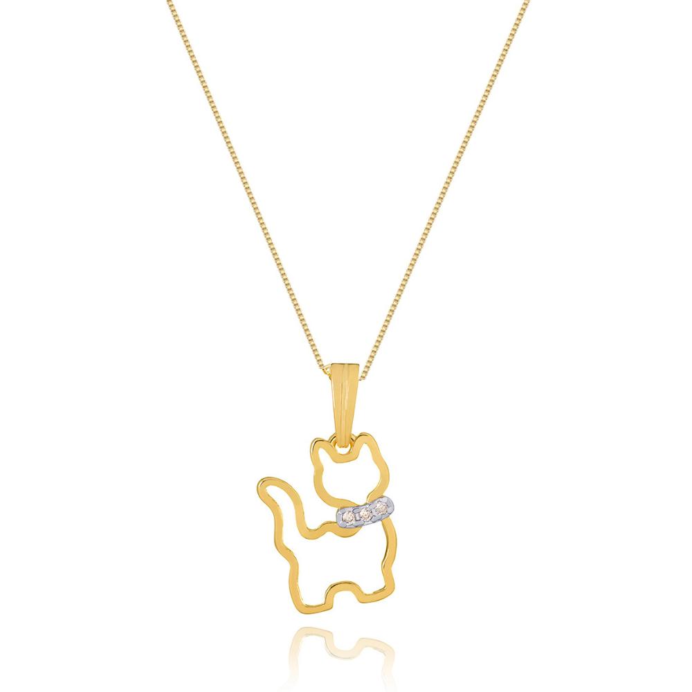 Colar Com Pingente De Gato vazado com  coleira de zirconias banhado em ouro 18k