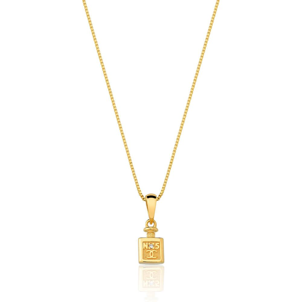 Colar Com Pingente De Perfume Com Zirconias banhado em ouro 18k