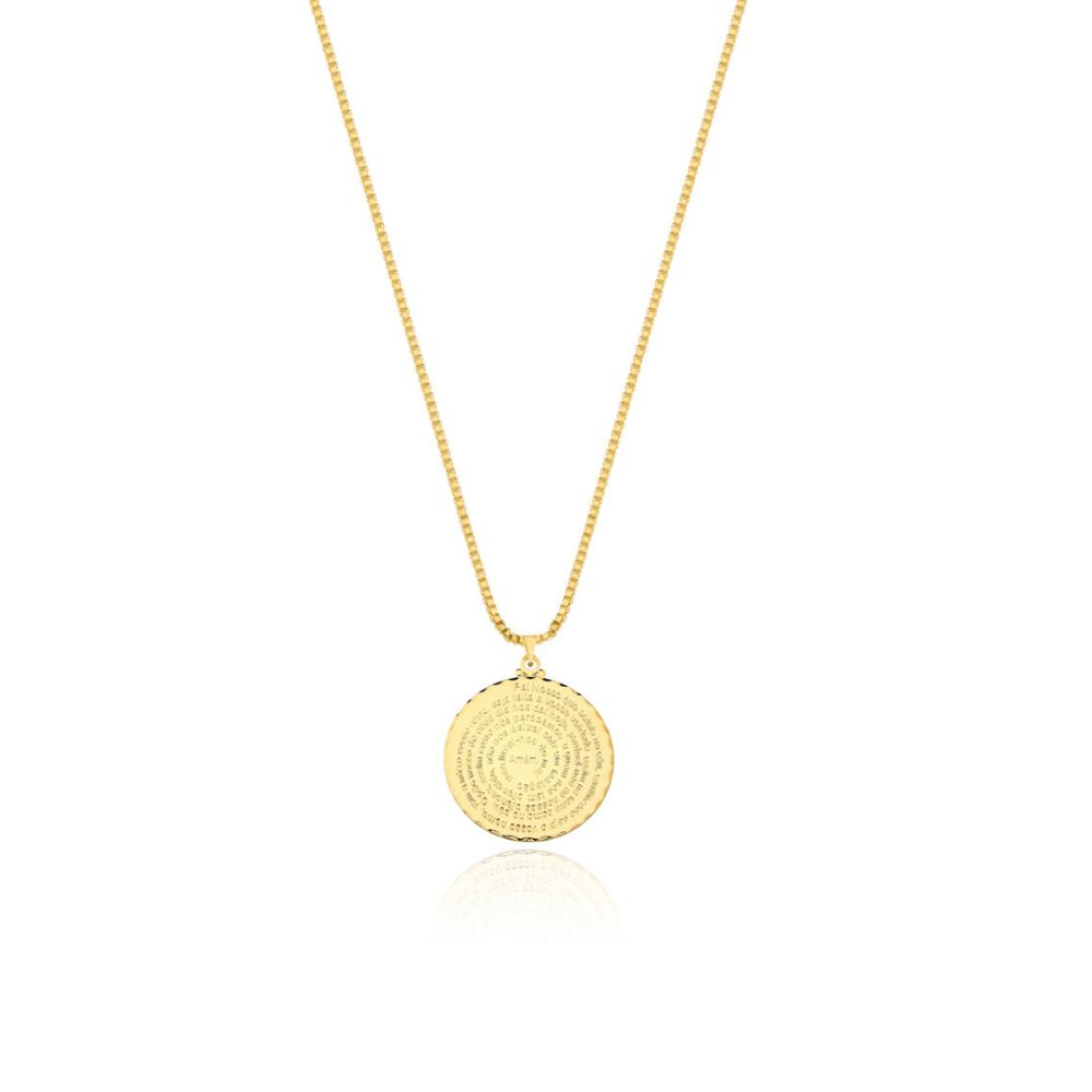 Colar com Pingente Pai Nosso banhado em Ouro 18k - 1,5 cm - pequeno