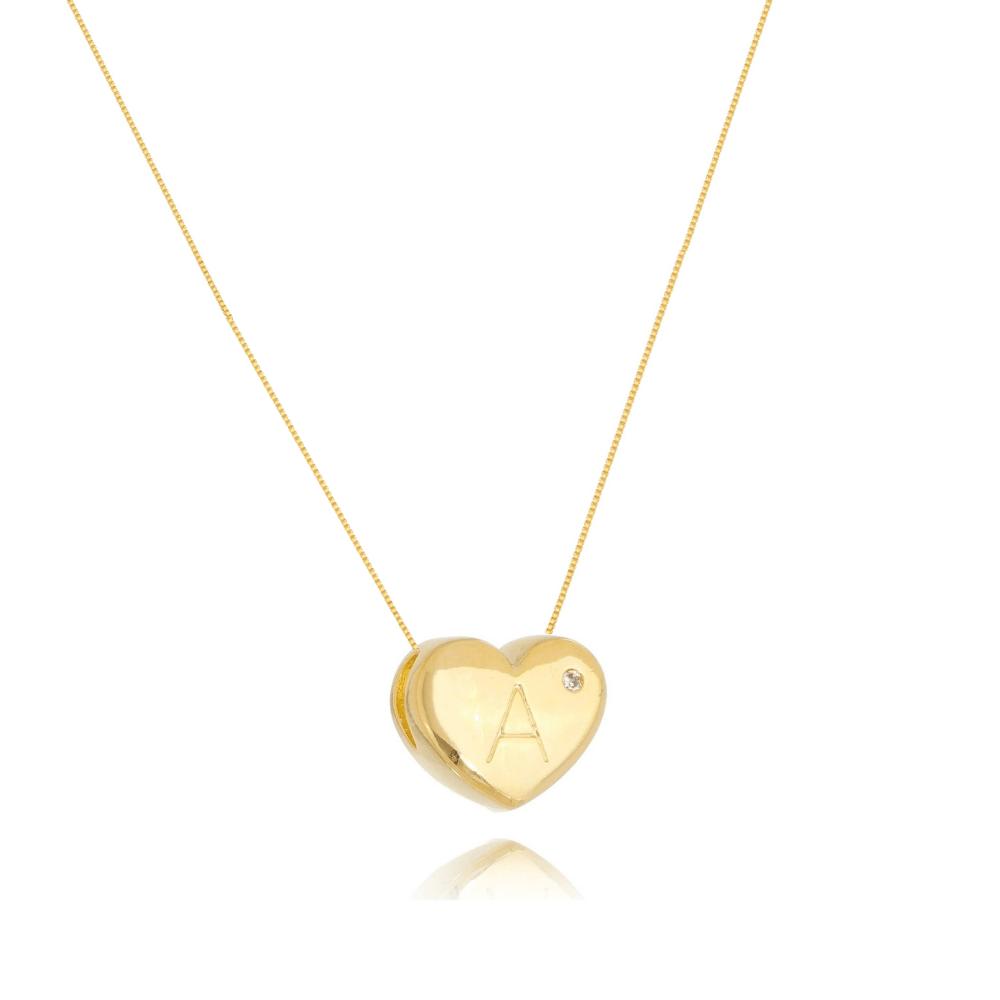 Colar de Coração Com Letra A e ponto de luz banhado em ouro 18k