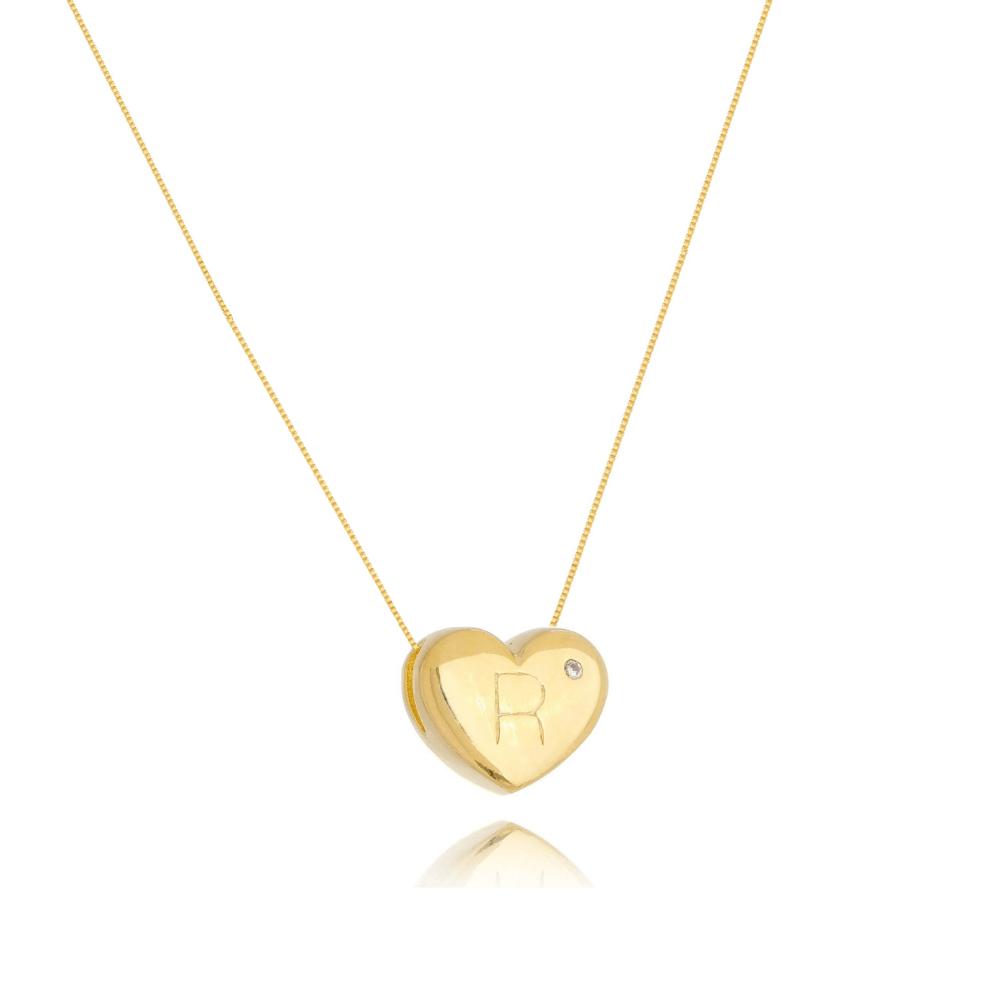 Colar de Coração Com Letra R e ponto de luz banhado em ouro 18k