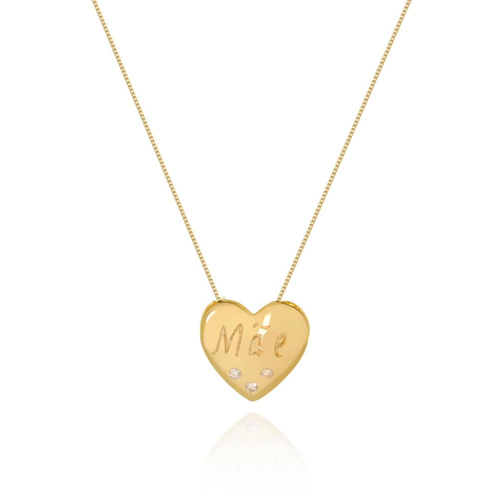 Colar de Coração escrito Mãe com 3 micro pontos de zirconias banhado em ouro 18k