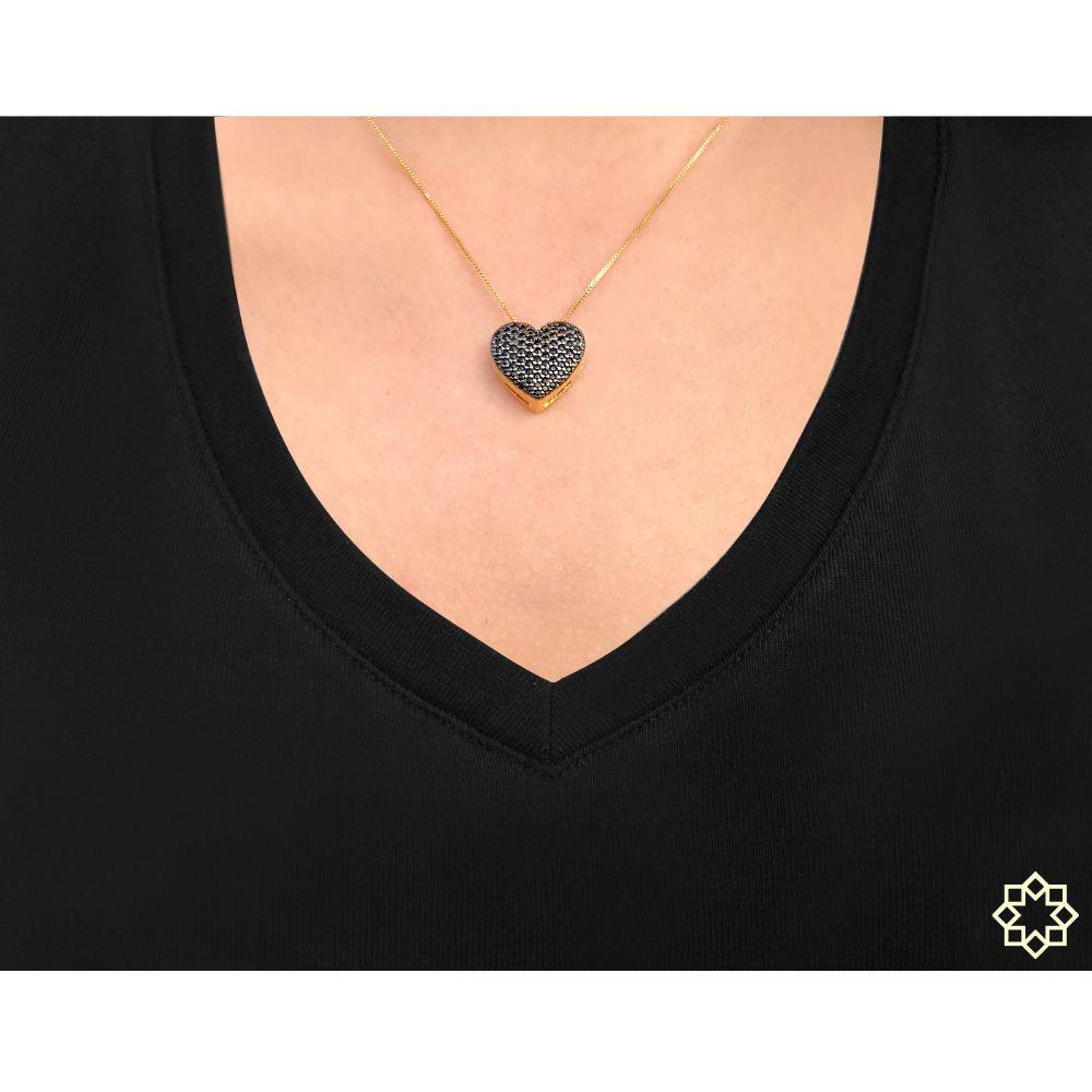 Colar De Coração Graziela Com Zirconias Negras Onix banhado em ouro 18k