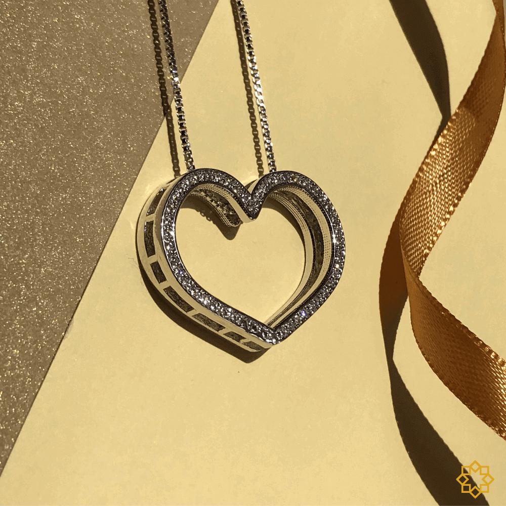 Colar De Coração Luxo Com Zirconias