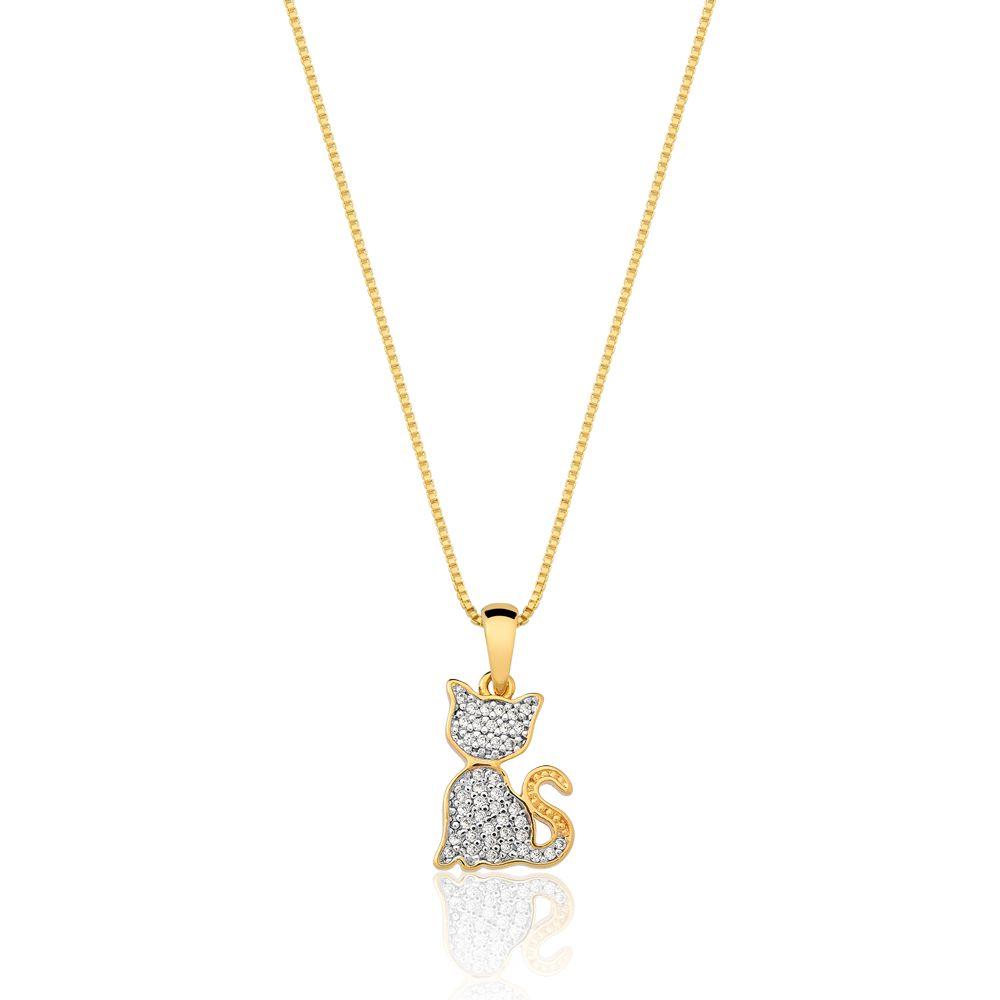 Colar De Gato Com Zirconias banhado em ouro 18k